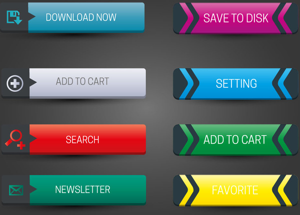 Horizontal website buttons design with classical style Free vector