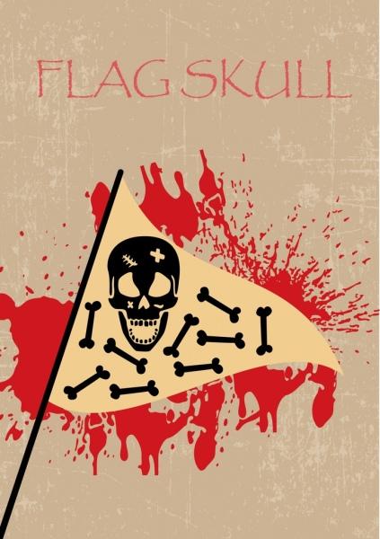 horror flag template blood skull bone icons decoration