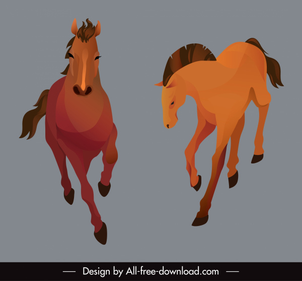 horse animals icons dynamic running sketch