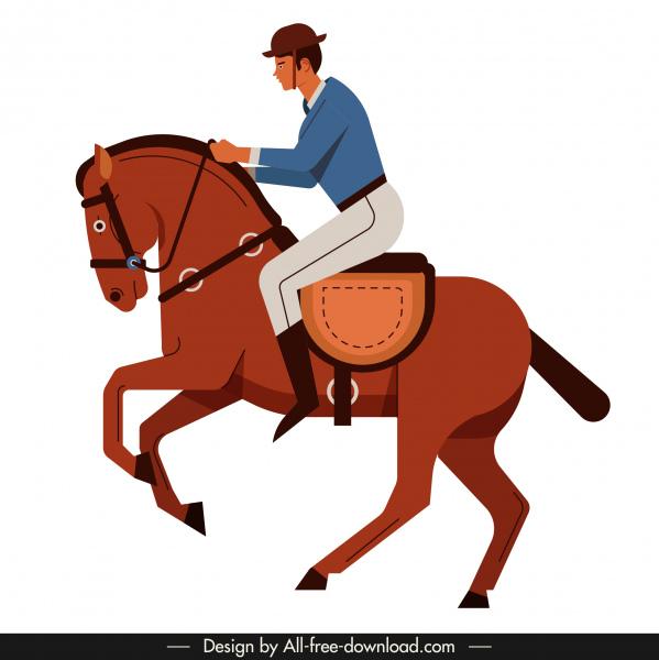 horse rider icon colored cartoon sketch