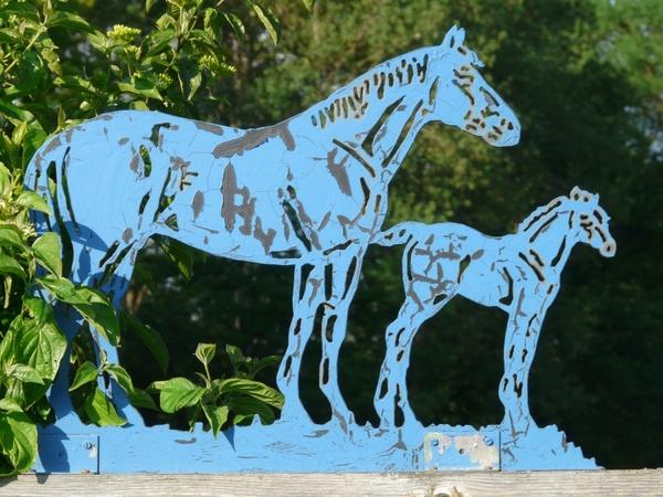 horses blue metal