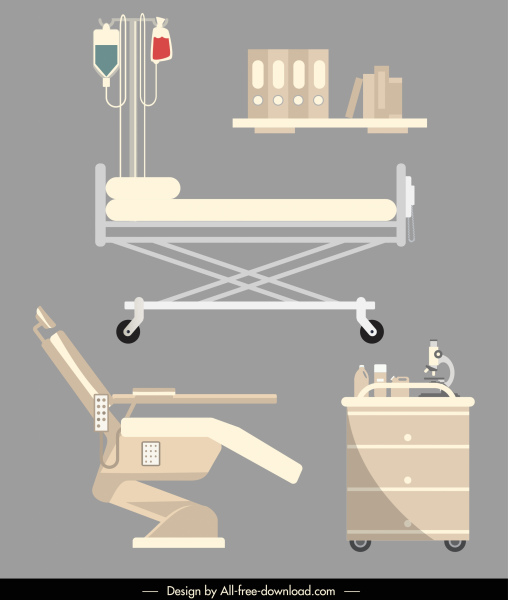 hospital devices icons contemporary flat sketch