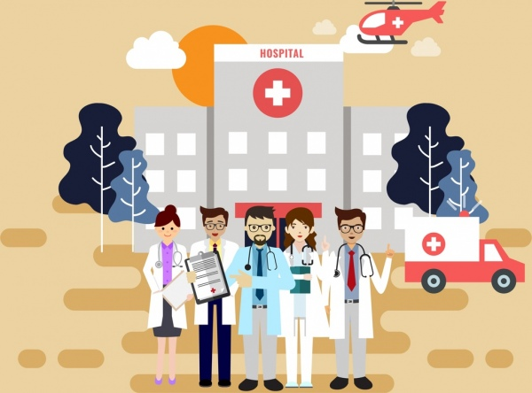 hospital drawing doctor helicopter ambulance icons colored cartoon