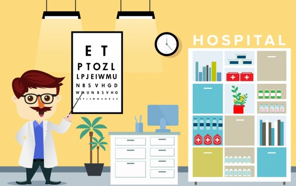 hospital drawing optical faculty them colored cartoon design