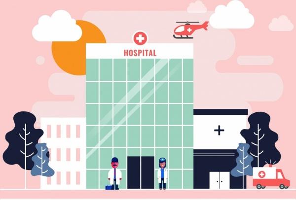hospital exterior drawing multicolored cartoon design