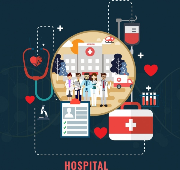 hospital work banner doctor medical tool icons decor