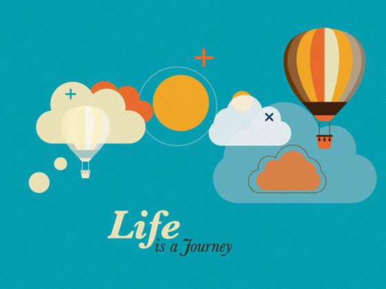 hot air balloon and clouds creative vector