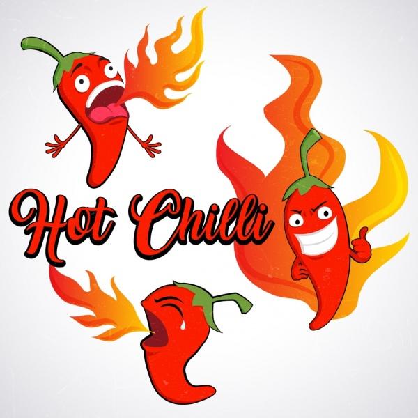 hot chili design elements funny stylized cartoon design