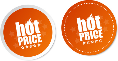 hot price round labels vector