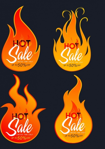 hot sales design elements red flame icons