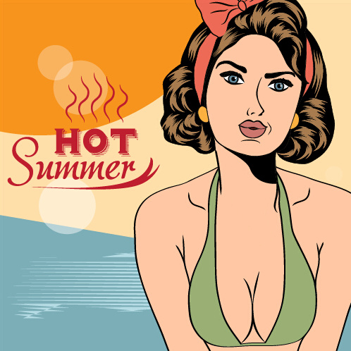 hot summer sexy woman vector background