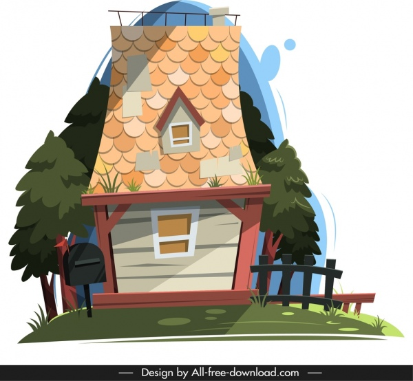 house cottage template colorful classical tile roof decor