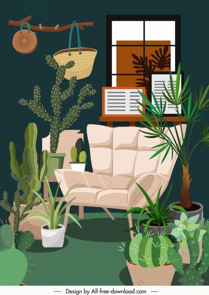 house decor template green plants ornament cozy design