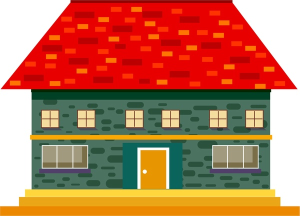 House Design Sketch With Red Tile Roof Style