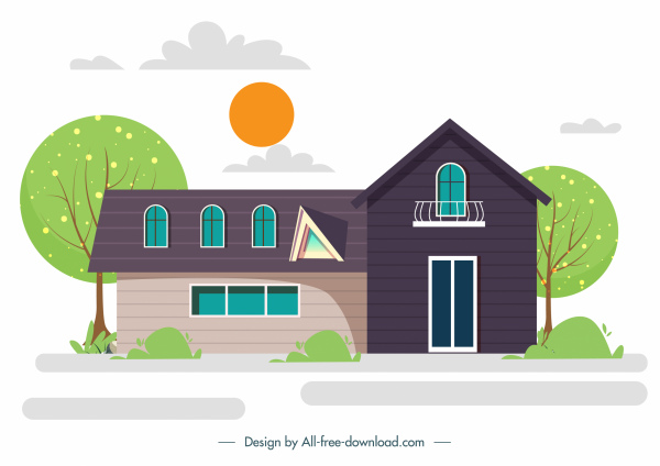 house exterior template colorful flat sketch modern classic