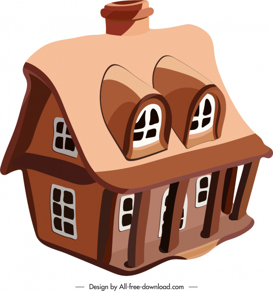 house icon classical brown 3d sketch