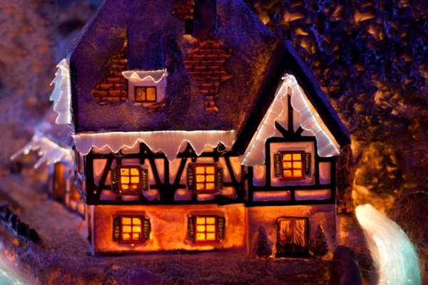 house in winter decoration