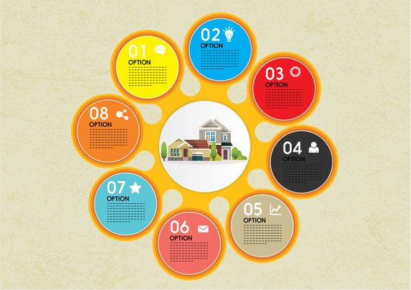 house infographic design with colorful circles illustration