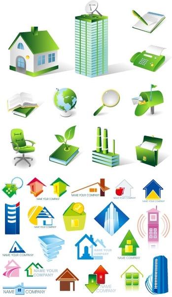 house real estate theme icon vector