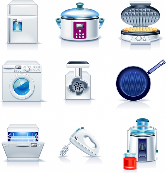 Household appliances icons Free vector in Adobe ...