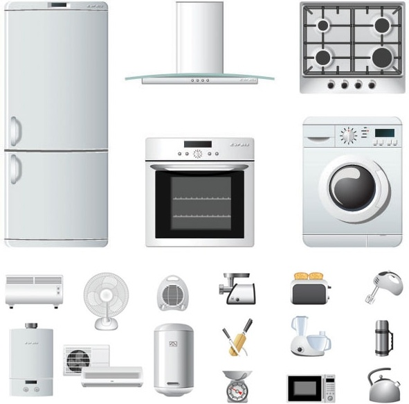 Household Appliances Icons Vector Free Vector In