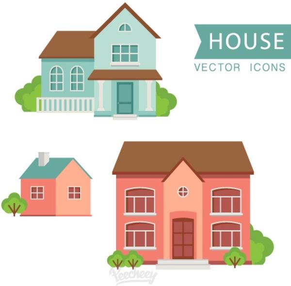 Home Front Design Illustrator: Houses Flat Design Free Vector In Adobe Illustrator Ai