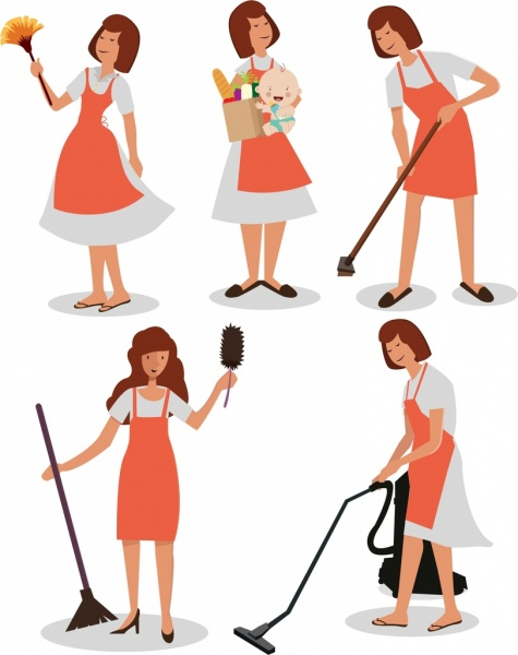 housewife icons collection colored cartoon characters