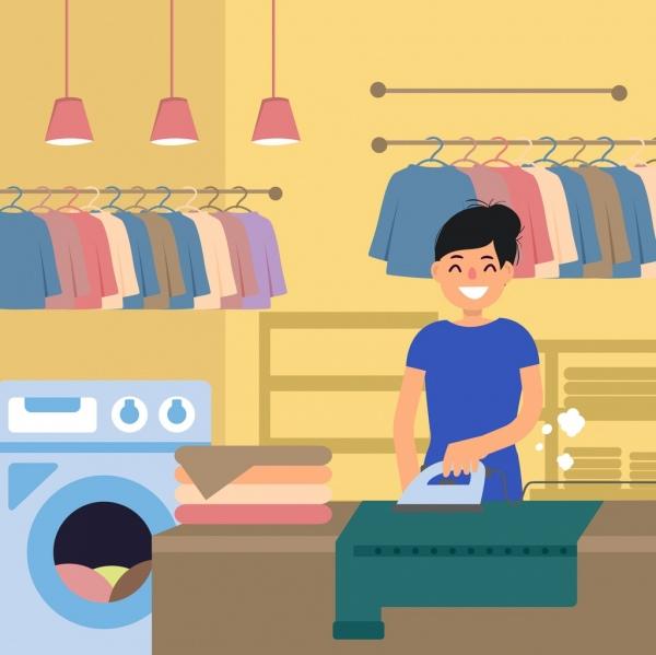 housewife work background laundry ironing icons cartoon design