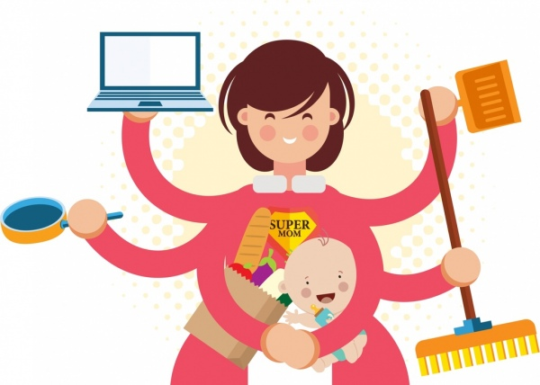 Cartoon character multitasking busy mom Royalty Free Vector