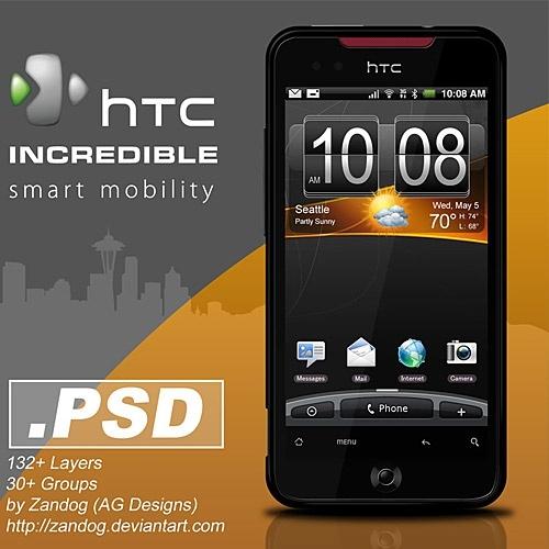 HTC Incredible Smartphone PSD