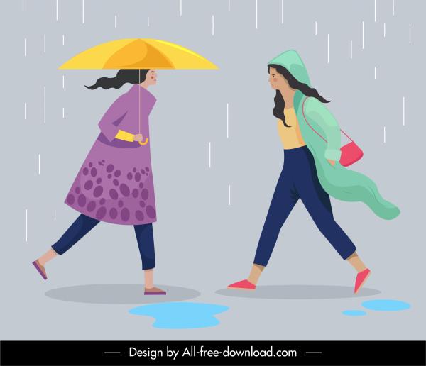 human activities icons rainy sketch cartoon characters design