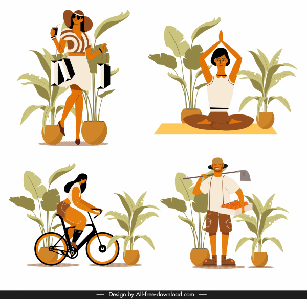 human activities icons shopping yoga cycling farming sketch