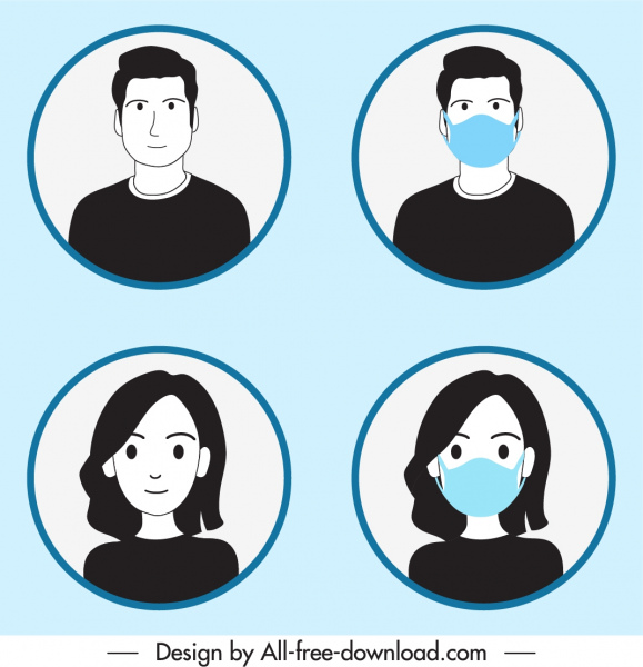 human avatar icons masking instruction sketch cartoon characters