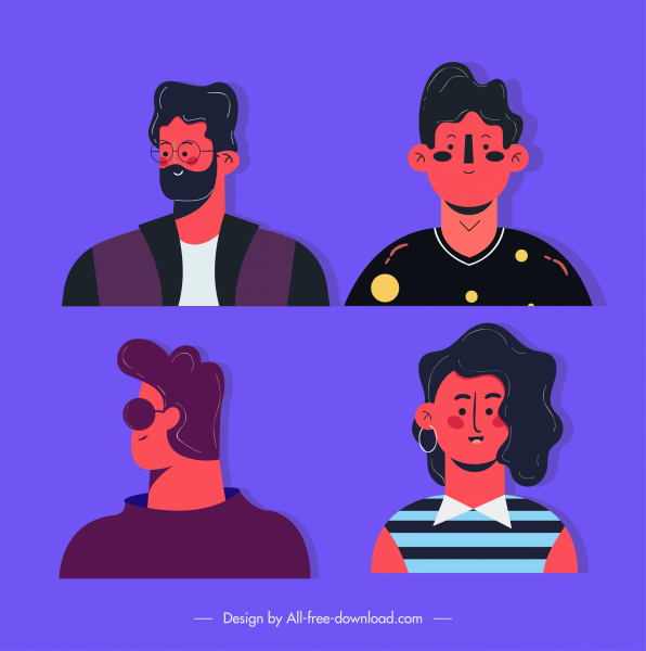 human avatars icons young style cartoon character sketch