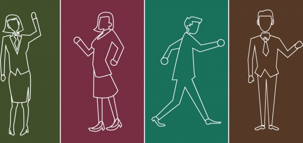 human icons outline elegant style various posture silhouettes
