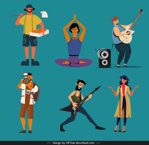 human job icons colored cartoon characters sketch