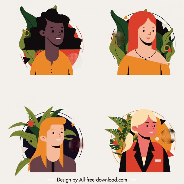 human portrait avatar icons women face sketch