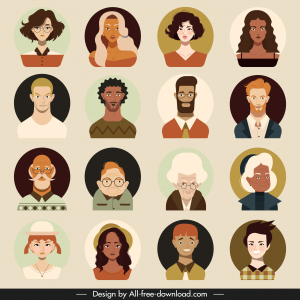 human portrait avatars men women sketch cartoon characters