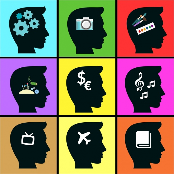 human thoughts icon black silhouette head isolation
