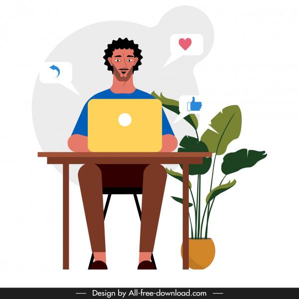 human work icon man laptop desk sketch