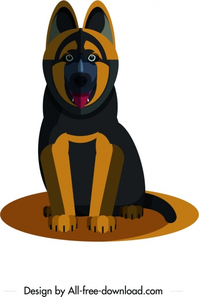 hunting dog icon dark black brown design