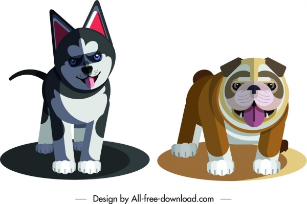 husky bulldog icons puppy design cute cartoon sketch