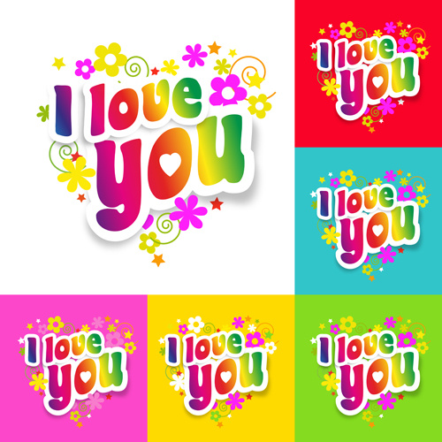 I love you flower sticker vector