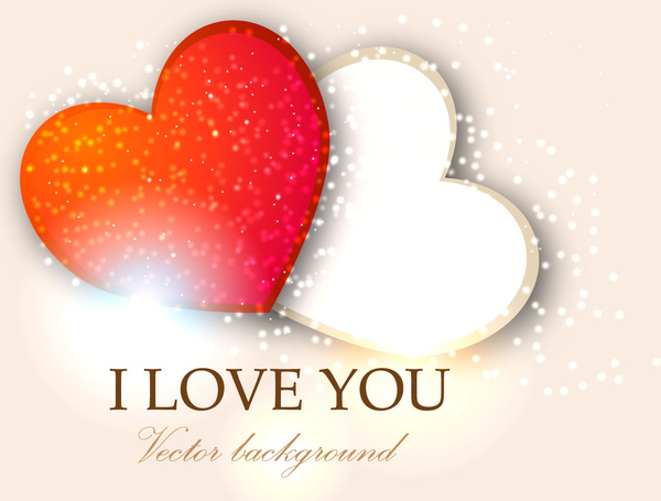 I Love You Two Heart Valentine Background Free Vector In Adobe