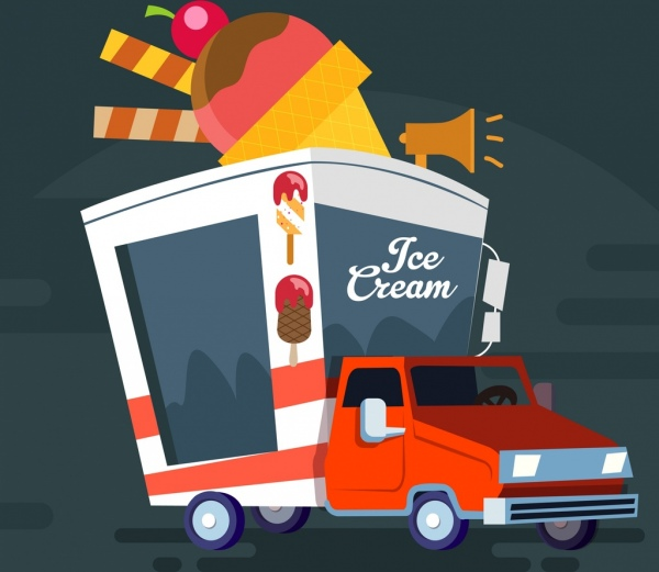 ice cream advertising truck vehicle icon 3d design