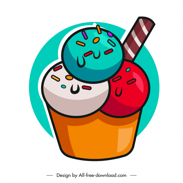 ice cream cup icon colorful flat sketch