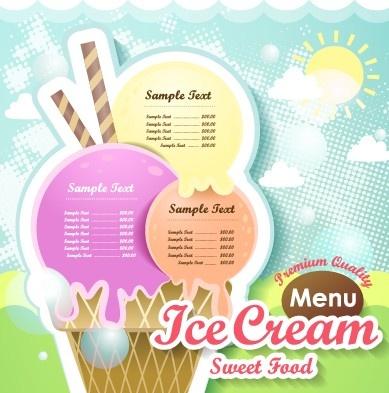 ice cream sweet food menu design vector