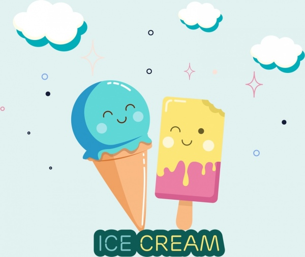 Melting Ice Cream Simple Wallpaper Designs: Ice Creams Background Cute Stylized Design Free Vector In