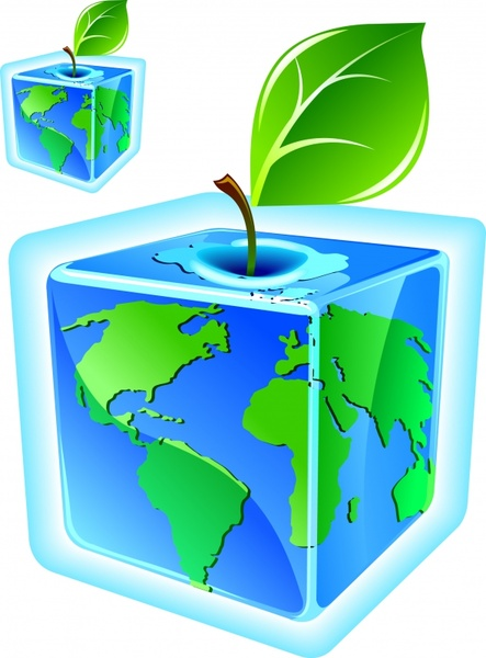 Ecology icon template 3d cube globe green leaf Free vector in