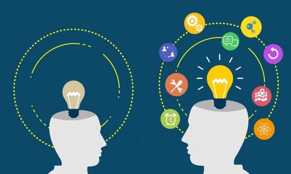 idea concept background head white silhouette lightbulb icon